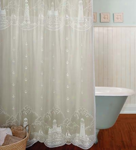 Usa-made Lighthouse Lace Shower Curtain