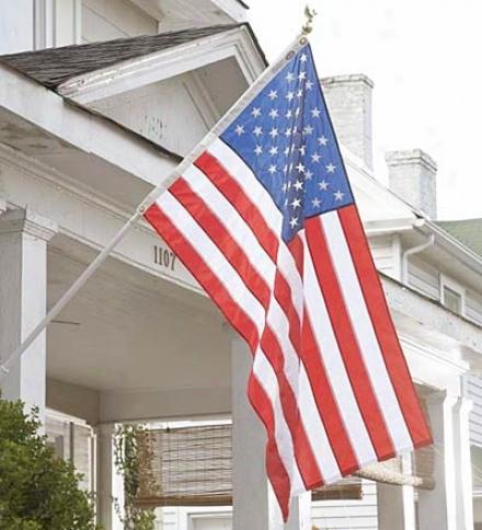 Usa-made Nyl-glo Colorfast® American Flag And Tangle-free Aluminum Pole Set