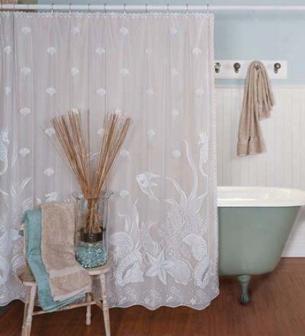 Usa-made Seascape Lace Shower Curtain