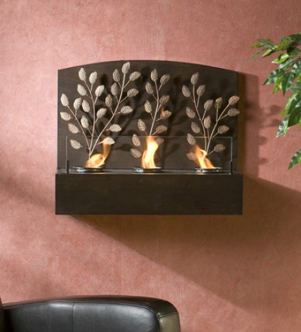Vine Wall Mount Fireplace With Ancient rarity Bronze Finish