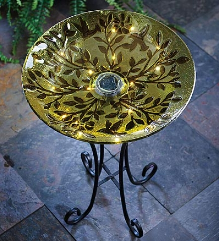 Vines And Birds Solar-powered Textured Glass Birdbath Upon Stand