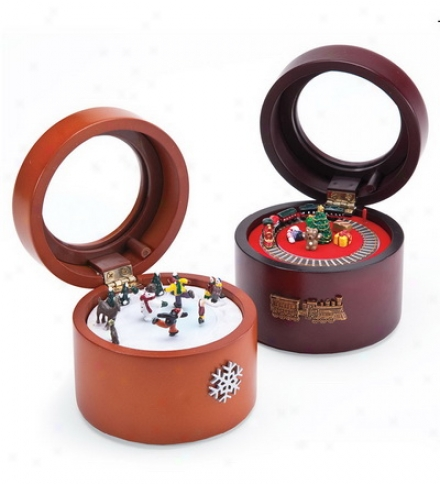 Vintage-style Round Music Boxes With Hand-painted Animated Scenes