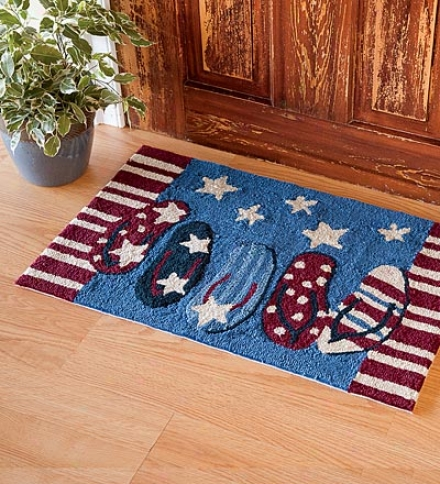 Washable Hand-hooked Americana Flip Flops Accent Rug