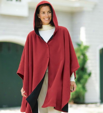 Water-repellent Reversible Fleece And Nylon Microfiber Cape By the side of Cape