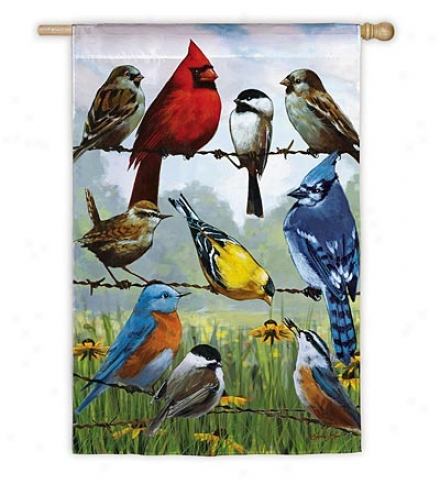 Weather And Fade-resistant Birds Forward A Wire Garden Flag With Silk Reflections Screen Print