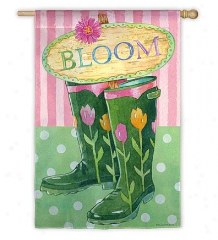Weather And Fade-resistant Bloom Boots House Flag With Silk Reflections Screen Print