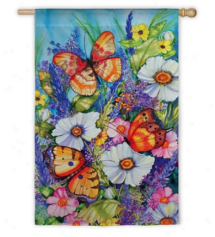 Pass to windward of And Fade-resistant Bright Butterfly Garden Flag With Silk Reflections Screen Print