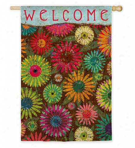 Weather And Fade-resistant Daisy Pattern Welcome Garden Flag With Silk Reflections Screen Print