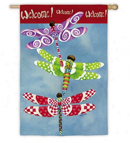 Weather And Fade-resistant Dragonflies Welcome Garden Flag With Silk Reflections Screen Print