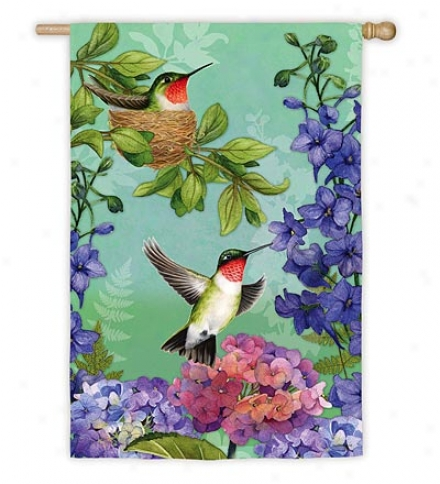 Weather And Fade-resistant Hummingbird Nest Garden Flag With Silk Reflections Screen Print
