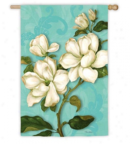 Weather And Fade-resistant Magnolia Blossoms Family Iris In the opinion of Silk Reflections Screen Print