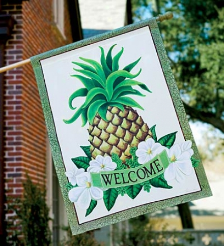 Weather And Fade-resistant Pineapple Welcome Flag With Silk Reflecfions Screen Print