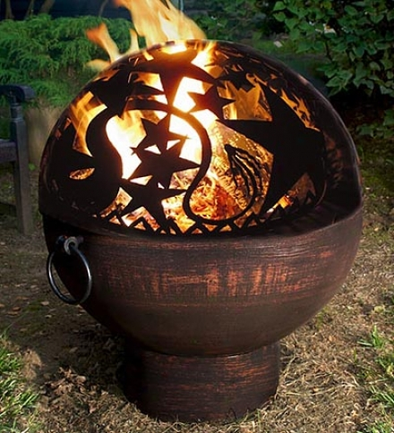 Weather-resistant Large Outdoor Orion Fire Bowl With Cutouts