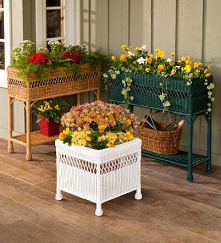 Weather-resistant Resin Rectangular Wicker Planter