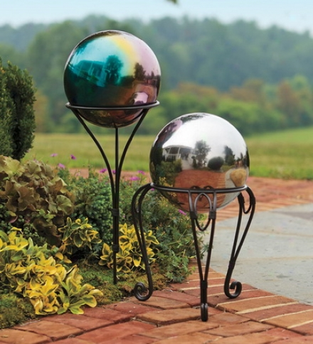 Weather-resistant Stainless Armor Gazing Ball With Iron Ground Stake