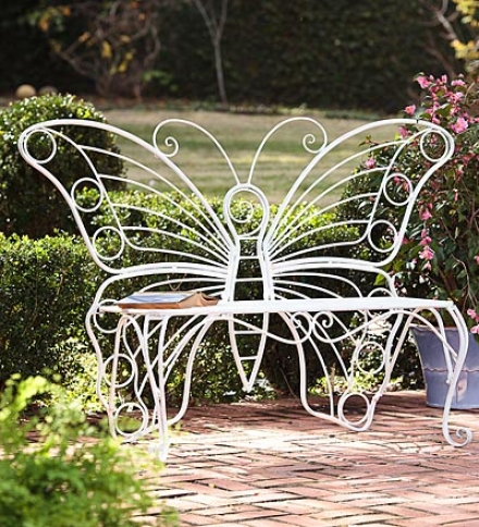 White Metal Garden Butterfly Bench