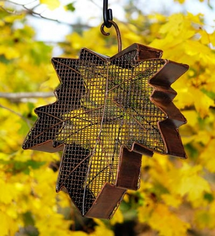 Telegraph Mesh Maple Leaf Hanging Bird Feeder