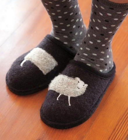Women's Boiled Wool Sheep Slippers With Non-slip Soles