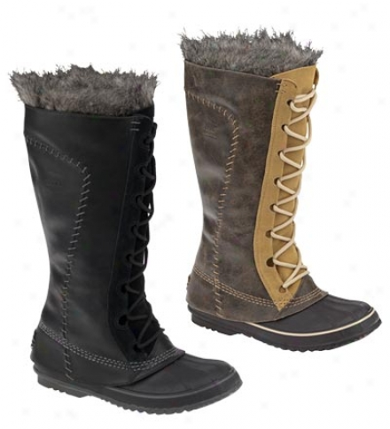 Womem's Leather And Sorel Suede Cate The Great Snow Boots With Faux Fur Trim