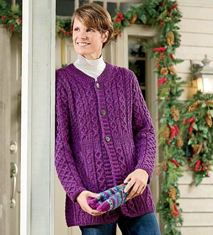 Women's Merino Wool A -line Cardigan With Tradditional Aran Stitching