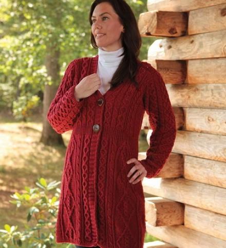 Women&#039 ;s Merino Wool Irish Aran Knit Long Cardigan Sweater
