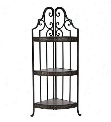 Wood & Metal 3-shelf Krystal Corner Rack In Copper/brown Finish