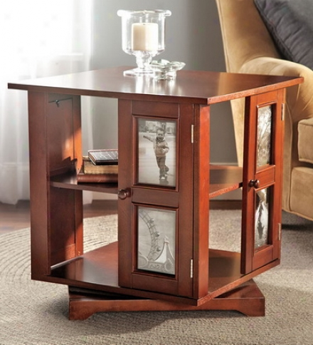 Wood Swivel Photo Side Table