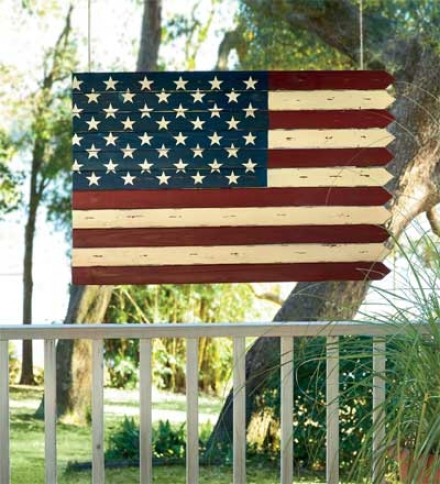 Woodem Americana Flag-inspired Accent