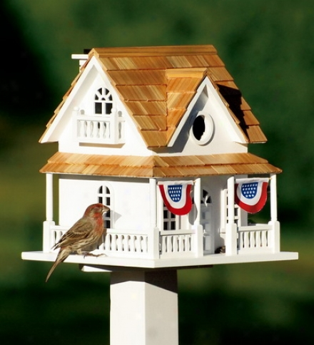 Wooden Birdhouse With Patriotic Bunting And Pedestal Setsave $14.95 On The Set