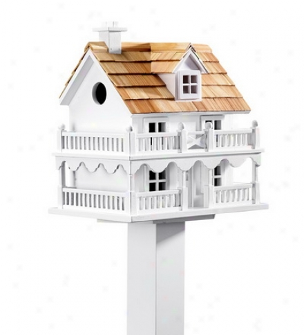 Wooden Cape Cod Birdhouse With Real Pine Shake Shingles And Pole Setsave $5 On The Set!