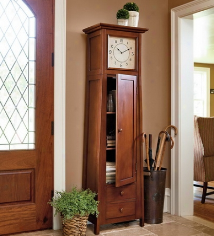 Wooden Walnut-finished Clock Cabinet With Integrated Storage Shelves And Drawers