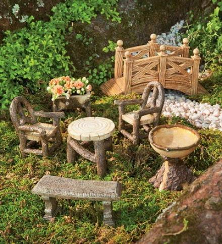 Woodland Fairy Garden Rsin Furniture Set