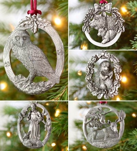 Woodland Pewter Ornaments, Set Of 5
