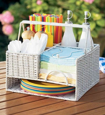 Woven Rattan And Wicker Seven-compartment Picnic Organizer Through  Metal Frame
