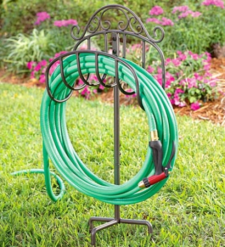 Wrought Iron Portable Hose Holder With Stake