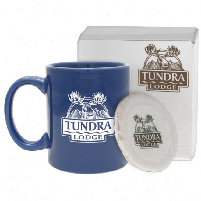 11 Oz Royal Blue HamptonC offee Mug W// Cookie