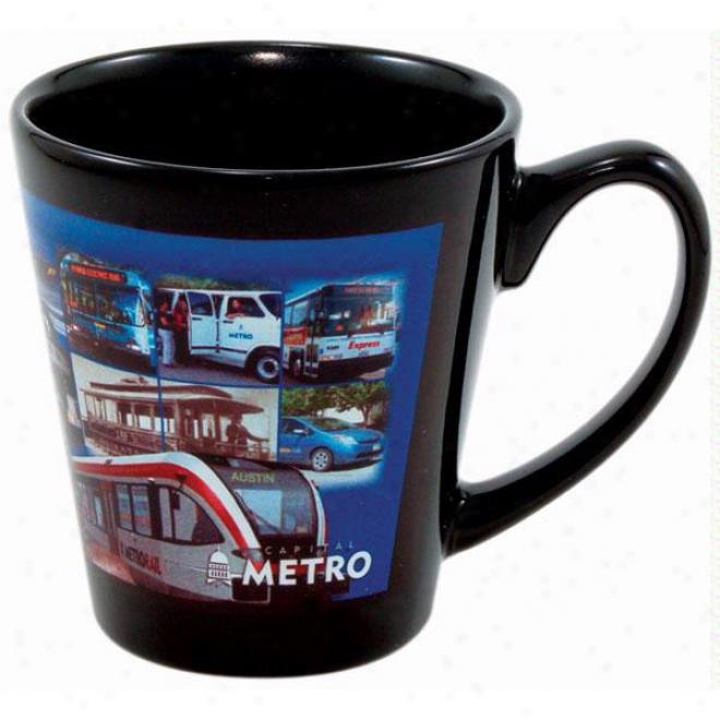 12oz. Full Color Black Stoneware Coffee House Mug