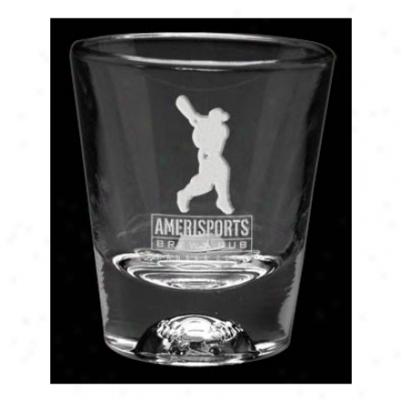 1.5 Oz Deep Etched Baseball Sport Shot Glass