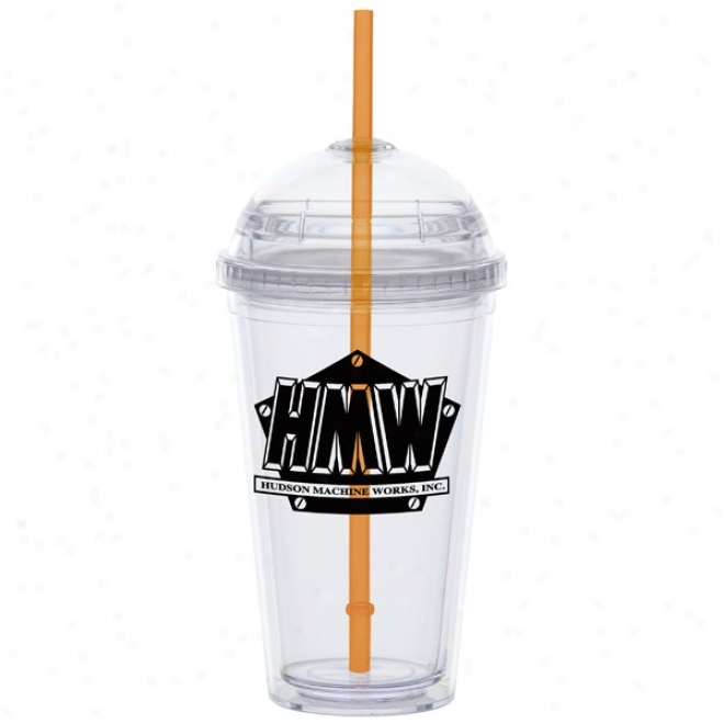 16 Oz Big Top Carnival Cup With A Orange Straw
