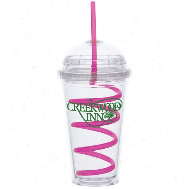16 Oz Big Head Carnival Cup W/pink Curly Straw
