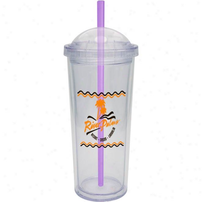 16 Oz. Carniavl Cup With Dome Lid And Purple Straw