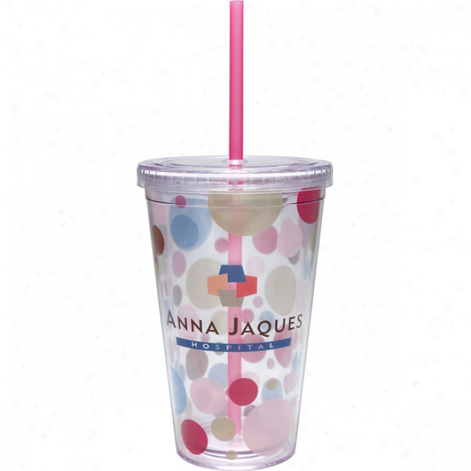 16 Oz. Carnival Cup With Vivid Print, Pink Straw