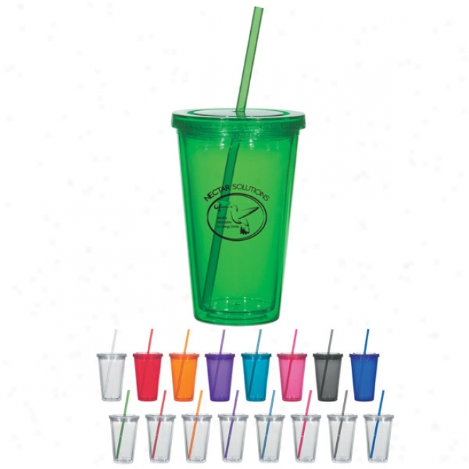 16 Oz. Dougle Wall Acrylic Tumblerwith Straw