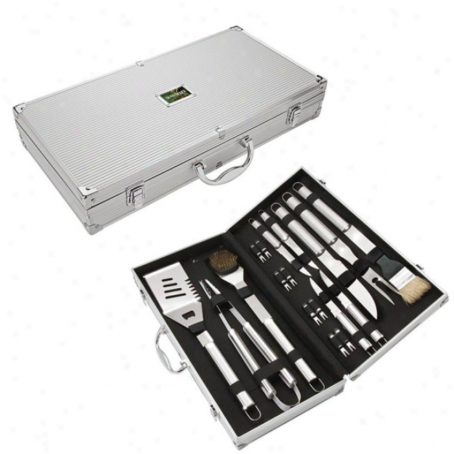 18 Piece Steel Bbq Set