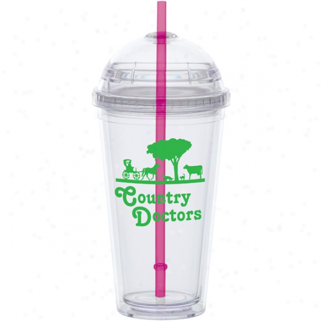 20 Oz Big Top Carniva Cup With A Piink Straw