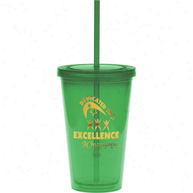 20 Oz. Green Carnival Cup With A Green Straw