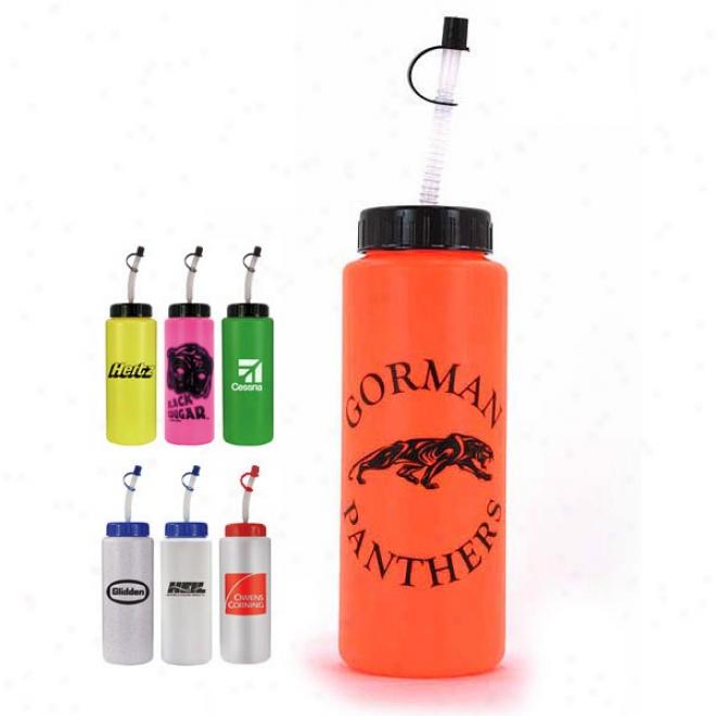 32 Oz. Sports Bottle With Flexible Straw - Bpa Free