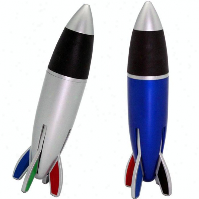 4 Color Rocket Pen - Blue Or Silver Body