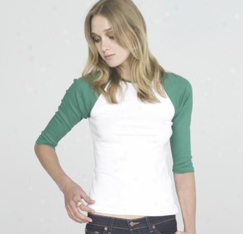 Baby Rib 3/4 Sleeve Contrast Raglan T-shirt