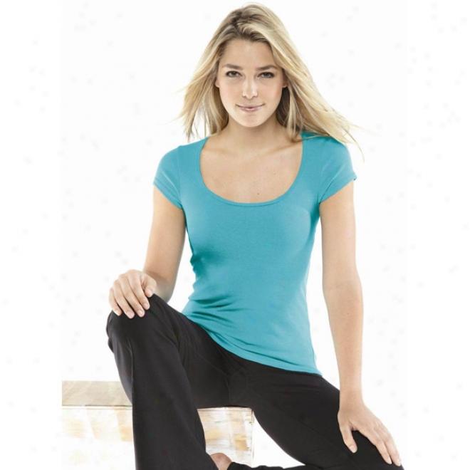 Bella Ladies&0#39; Margot Sheer Rib Short Sleeve Scoop Neck T-shirt